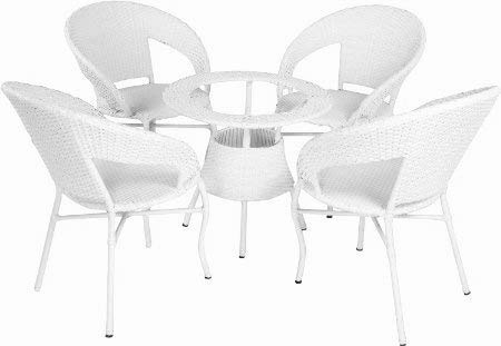 Hindoro Garden/Balcony/Outdoor Furniture 4 Chair with 1 Table with Glass (White)