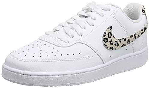 Nike Damen Court Vision Low Sneaker, White/Desert Sand-Black, 39 EU