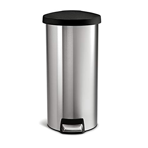 simplehuman Round Step Trash Can, Stainless Steel, Plastic Lid, 30 L / 8 Gal