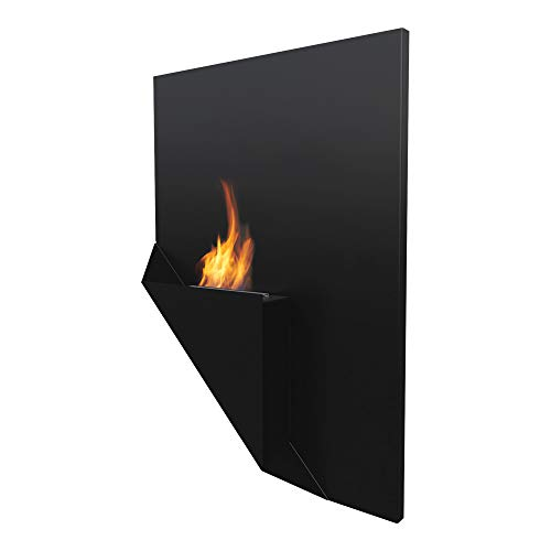 KRATKI bio Fireplace PAPA |Decorative Wall Fireplace |900 x 650 mm |0.2 L Container |Black |Ideal for Home, Living Room or Bedroom |TÜV - Rhineland Tested