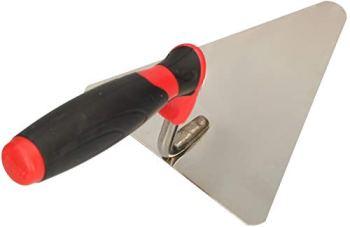 KOTARBAU® Truelle triangulaire en acier inoxydable 140 mm x 118 mm Truelle de maçon avec poignée en plastique Truelle de stuc Spatule indispensable pour travaux de maçonnerie