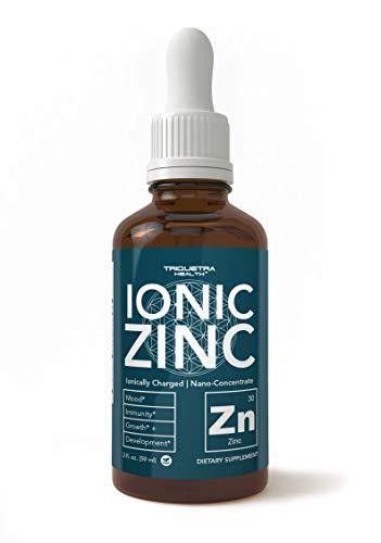 Suplemento de zinc – 10 x máxima absorción (240 porciones) | zinc cargado iónicamente, nano-concentrado y factores esenciales – sulfato de zinc líquido, forma más cofactor de zinc iónico