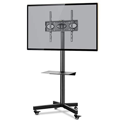 RFIVER Supporto TV da Pavimento con Ruote Carrello Staffa Porta Mobile Supporto per Schermi 26-55 pollici Plasma/LCD/LED fino a 40 kg con Altezza Regolabile e Ripiano