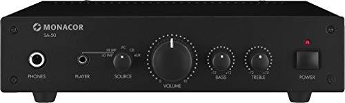 MONACOR SA-50 Kompakter Universal Stereo-Verstärker schwarz