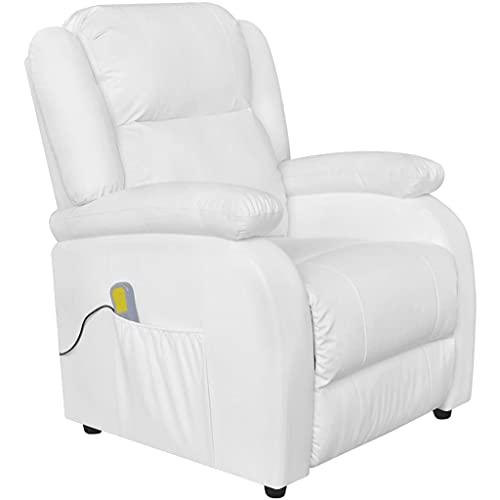 vidaXL Poltrona Massaggiante Elettrica in Similpelle Bianco Crema Sedia da Massaggio