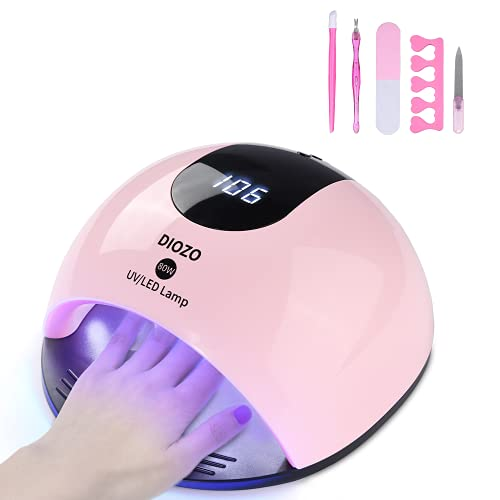 80W UV Nail Lamp, DIOZO High Power Nail Dryer, UV/LED Curing Lamp for Gels, with 4 Timer Setting, Timer Memory and Over- Temperature Protection for Fingernails and Toenails, Home and Salon