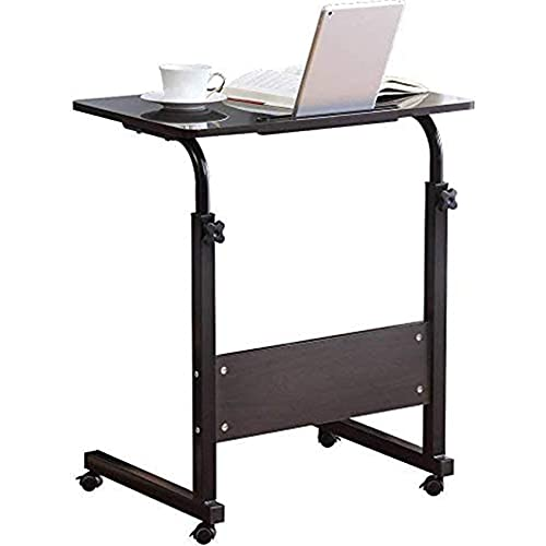 Standing Desk Adjustable Laptop Desk with Tablet iPad Slot Portable Desk for Laptop with Wheels Mobile Workstation Stand up Desks for Home Office (Black)