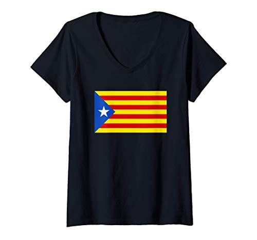 Mujer Estelada Blava - Bandera Senyera estelada Camiseta Cuello V