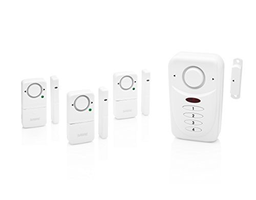 SABRE Home Wireless Alarm Kit  Loud 120 dB Siren  Easy Install  3 Pack Window Alarm & Main Door Alarm w/Entry & Exit Delay Settings NEW Home Mode Setting for Max Safety While Asleep at Home