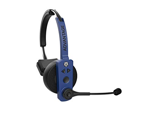 Blue Tiger Advantage Wireless Bluetooth Voice Assisted Headset  Professional Truckers Noise Cancellation Head Set with Microphone  Clear Sound, Long Battery Life, No Wires - 30 Hour Talk Time, Blue