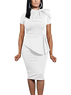 Features: Back zipper closure, little stretchy, peplum dress, side ruffle, Turtle Neck Size: S=USA 4-6;M=8-10;L=12-14;XL=16-18 Fabrics: Very comfy and best quality and the perfect length Occasion: fashion bow, peplum design perfect for evening, party...