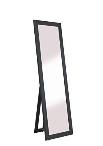 Stallmann Design Standspiegel schwarz groß Spiegel Ganzkoerperspiegel aus Holz mit Standfuss Ankleidespiegel stehend Stehspiegel 160 cm in 4 Farben Rechteckiger Hochspiegel mit Kunstglass