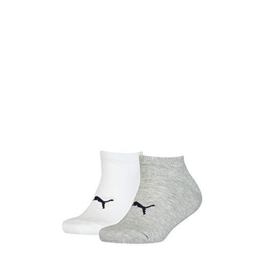 PUMA Kids' Seasonal Sneaker-Trainer Socks (2 Pack) Calzini, White Grey White, 35-38 (Pacco da 2) Unisex-Bambini