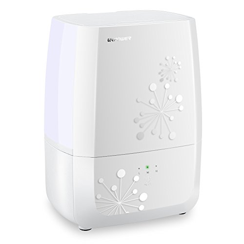 URPOWER Humidifiers, Updated 4L Cool Mist Humidifier with Sleep Mode, Whisper-Quiet Operation Ultrasonic Humidifier -Waterless Auto Shut-Off with 3 Mist Level Humidifiers for Bedroom Babyroom Office
