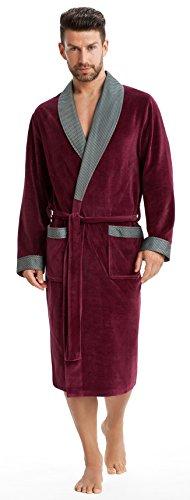 LEVERIE Elegante Vestaglia/Homewear Uomo, Collo Sciallato a Contrasto e Cintura, Rosso Carminio, M