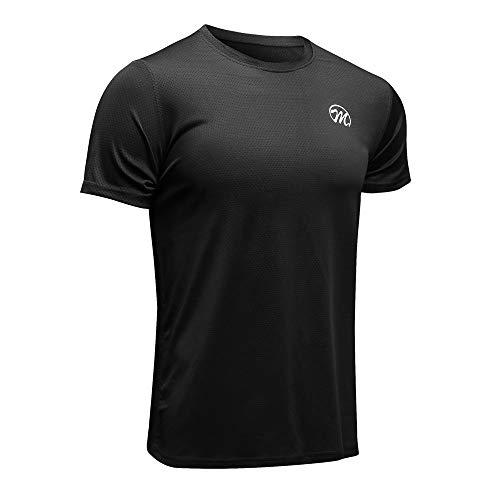MEETWEE Sportshirt Herren, Laufshirt Kurzarm MeshFunktionsshirtAtmungsaktivKurzarmshirt Sports Shirt Trainingsshirtfür Männer, Schwarz, XL