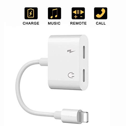 Adattatore jack per cuffie per iPhone XR doppio convertitore, splitter AUX cavo audio jack per cuffie connettore per gli amanti della musica per iPhone 11/11 Pro/X/XS/XR/8/8 Plus/7 Supporto Tutto iOS