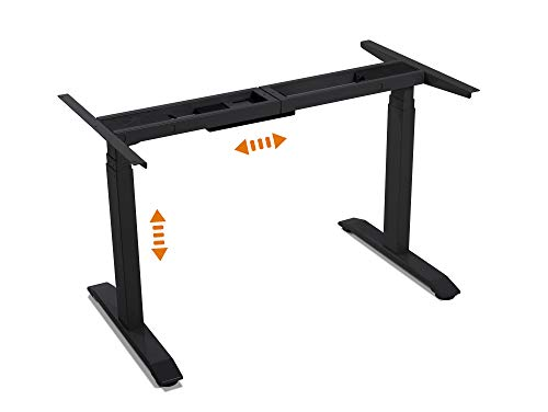 moebel-eins Office One Elektrisch höhenverstellbares Tischgestell TÜV geprüft Memory-Steuerung für alle gängigen Tischplatten mit Softstart/-Stop