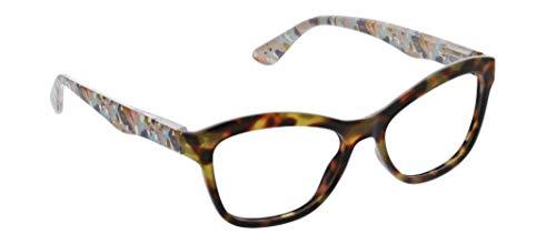 Peepers by PeeperSpecs Women's Brushwork Cat-Eye Reading Glasses, Tortoise - Focus Blue Light Filtering Lenses, 52 mm + 1.5