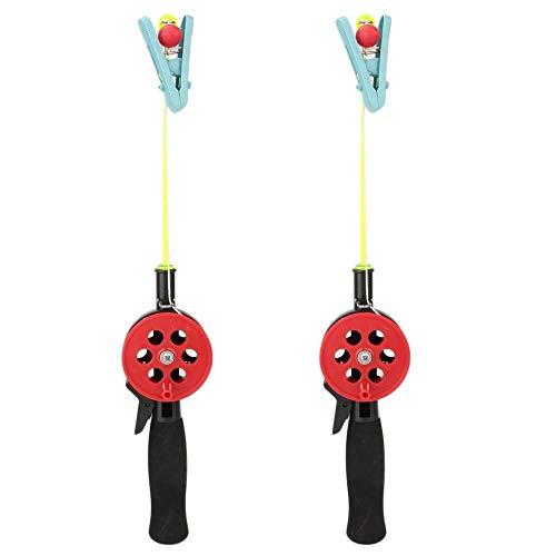 Jadeshay Fishing Rod- 2Pcs Mini Canna da Pesca Portatile da Esterno con Clip for Granchio di gamberetti, for Bambini Regalo for Bambini