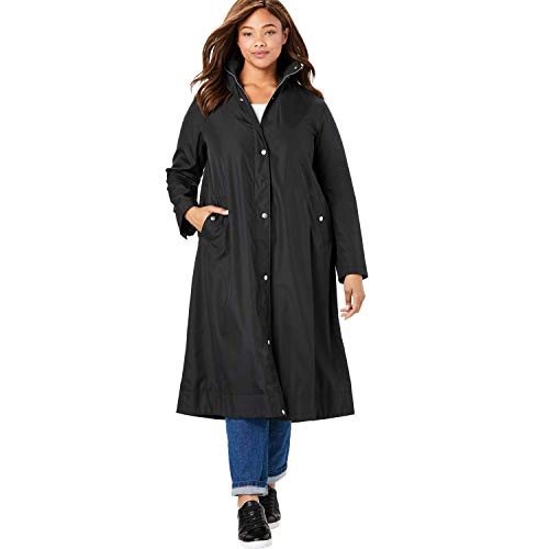 Woman Within Women's Plus Size Water Repellent Long Raincoat - 18 W, Black