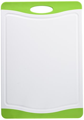 Neoflam 17' Plastic Cutting Board in White and Green - BPA Free, Non Slip, Dishwasher Safe, Microban Antimicrobial Protection