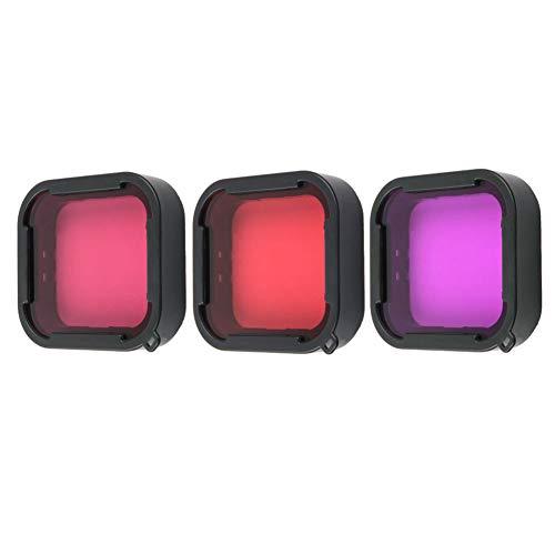 Harwerrel 3 Pack Scuba Dive Filtro per GoPro Hero 5 6 7 Super Suit Dive Housing - Rosso, Luce Rossa e Magenta Filtro - Migliora i colori per Varie Condizioni Subacquee di Video e Fotografia