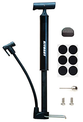 Kitbest Bike Pump, Portable Bicycle Floor Pump with Glueless Puncture Kit, Mountain, Road Bike Tire Pump, Mini Bicycle Air Pump Compatible with Presta Schrader Valve and Sports Ball