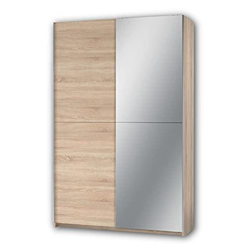 Stella Trading FAST Elegante guardaroba specchio e molto spazio  versatile armadio con ante scorrevoli effetto rovere Sonoma, Quercia, 125 x 195 x 38 cm