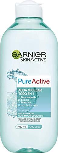 Garnier Skin Active - Pure Active Agua Micelar, Pieles Mixtas y con Imperfecciones, 400 ml
