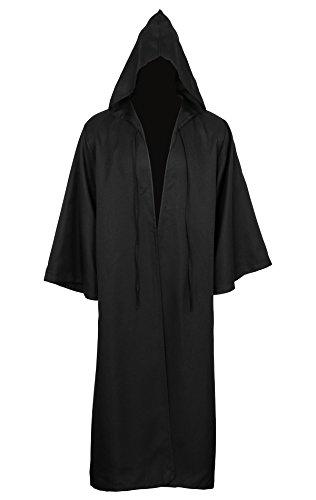 Cusfull Capa Con Capucha Capa Disfraz de Caballero Cool Cosplay disfraz para Traje de Halloween (M, Adulto Negro)