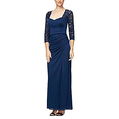 """Long A-Line Dress with Sweetheart Neckline and Cascade Skirt Figure Flattering Back and Side Ruching Detail Bra Cups Center back length: 54"""" Style #82122363"""