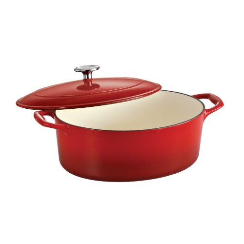 Enameled Cast Iron Covered Oval Dutch Oven, 7-Quart