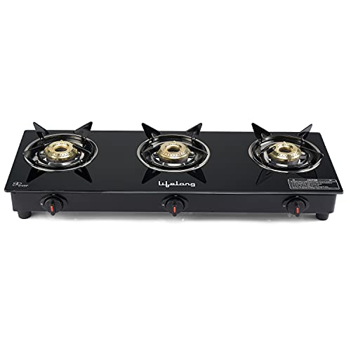 Lifelong LLGS303 Auto Ignition 3 Burner Gas Stove with Toughened Glass Top, ISI Certified, For LPG...