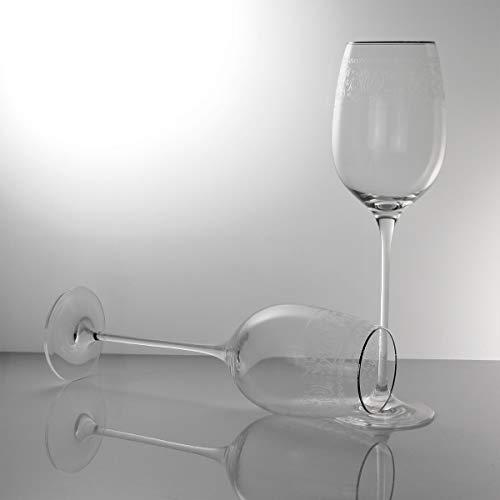 MARTICA Calici Vino Bianco da degustazione incisi con Bordo Filo Platino - Montecarlo