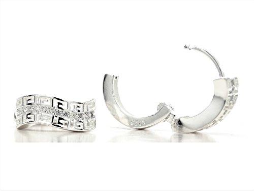 Hallmarked Pendientes de plata con gemas en blanco