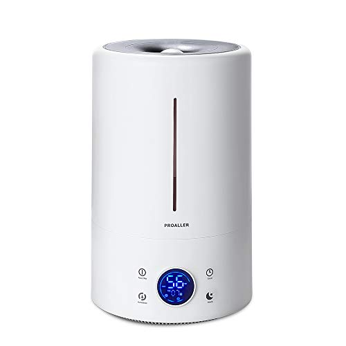 PROALLER Ultrasonic Cool Mist Humidifier for Large Rooms, 5L / 1.32 Gal for Bedroom, Baby, Home, Office, LED Display, Timer/Sleep Mode Quite, Filter Free, Waterless Auto Off, Portable, 3 Mist Level