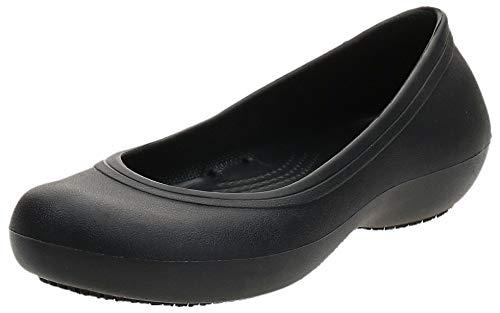 Crocs At Work Flat Women, Mujer Zapato plano, Negro (Black), 34-35 EU