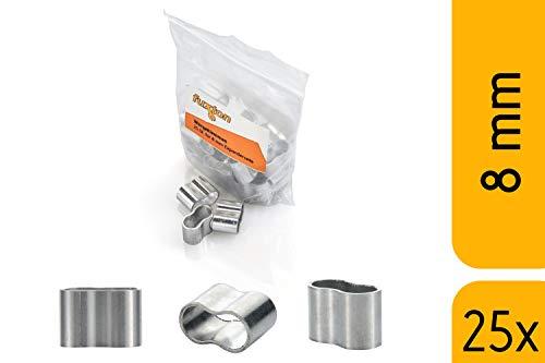 fuxton 25 Stk Profi Seilklemme 8 mm Würgeklemmen aus Aluminium, rostfrei, für Expanderseil, Planenseil, Gummiseil