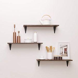 BAMFOX Floating Shelves,Wall Shelf Set of 3,Wall Mounted Floating Shelf with Large Storage for Bedroom Bathroom Living Room Kitchen Office