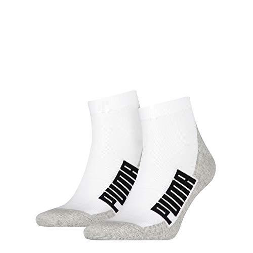 PUMA BWT Cushioned Quarter Socks (2 Pack) Calzini, Bianco/Grigio/Nero, 43-46 Unisex-Adulto