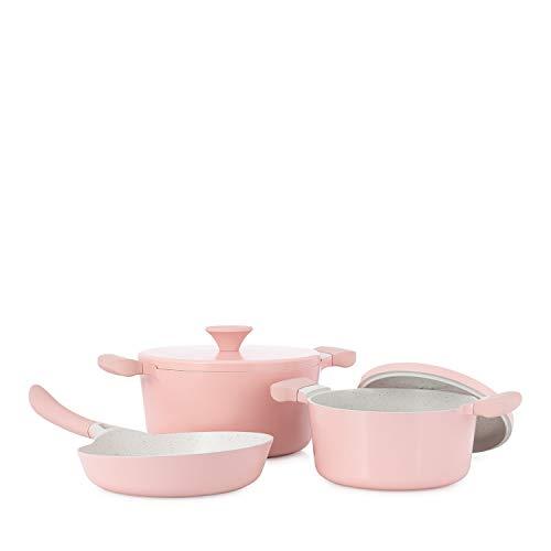 IKOHS Batteria da Cucina - 2 pentole Uma + 1 Padella Noa (Rosa)
