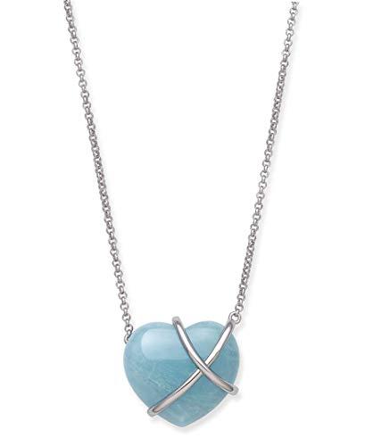 Belacqua Sterling Silver Natural Aquamarine Blue Heart...