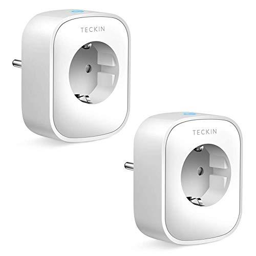 TECKIN WLAN Steckdose Smart Steckdose Plug Wifi Stecker Fernbedienbar und Sprachsteuerung IP Steckdosen Stromverbrauch messen, funktioniert mit Google Home und IFTTT, auf NUR 2.4 GHz Netzwerk, 2 Pack