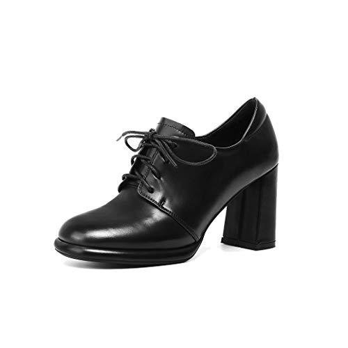 ANNIESHOE Blucher Mujer Cuero Cordones Oxford Derby Zapatos Tacon Primavera Otoño Negro 37CN 37EU 23.5cm