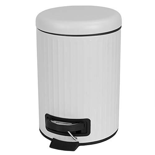 Home Basics Step-On Steel Waste 3 Liter Round Garbage Trash Can Modern Chic with Soft Lid Close Wastebasket Dust Bin for Kitchen, Bedroom or Bathroom Floor (White)
