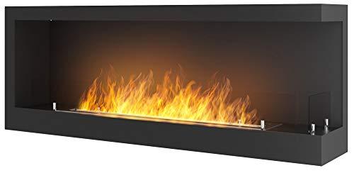 Dumas Bioethanol Wall Fireplace 120 x 45 x 24 cm Corner 1200 Right Black with Glass Si/No Con Vetro