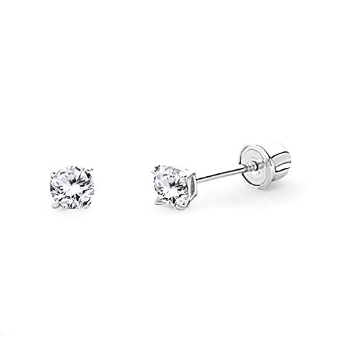 14k White Gold 3mm Round Solitaire Basket Set Stud Earrings with Screw Back