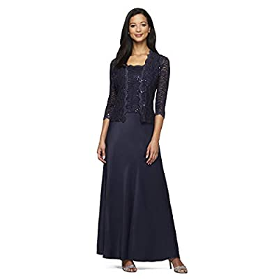"""sequin embellished lace bodice, satin skirt and scalloped hem Two-piece set featuring combo dress and lacy jacket This style is available in Regular, Plus Size and Petite on Amazon.com approx. 21.5"""" jacket length, approx. 50.5"""" dress length"""