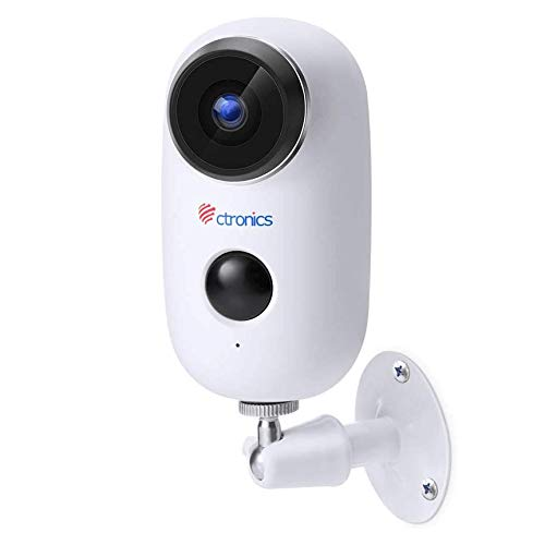 [1080P] Cámara de videovigilancia con batería recargable, cámara IP inalámbrica Ctronics Wifi con sensor de movimiento PIR, audio bidireccional, visión nocturna por infrarrojos y resistente al agua